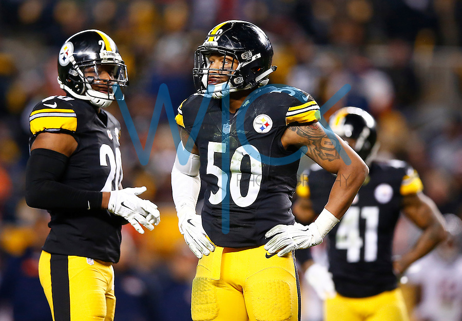 Ryan Shazier #50 of the Pittsburgh Steelers in action against the Denver Broncos during the game at Heinz Field on December 20, 2015 in Pittsburgh, Pennsylvania. (Photo by Jared Wickerham/DKPittsburghSports)