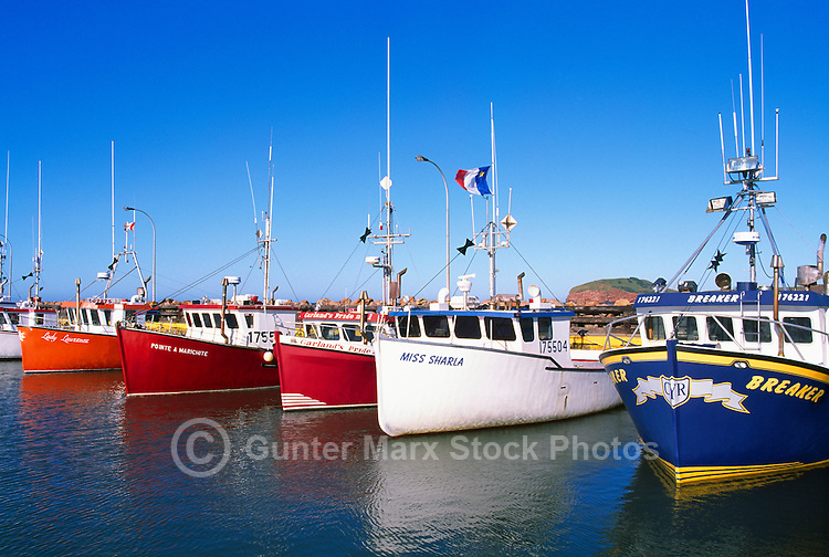 Ile du Havre-Aubert, Iles de la Madeleine, Quebec, Canada - Commercial Fishing Boats docked in Port du Millerand - (Amherst Island, Magdalen Islands)