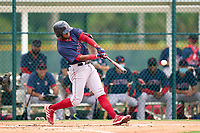 FCL Red Sox Antoni Flores (2) bats during a game against the FCL Pirates Gold on July 1, 2021 at Pirate City in Bradenton, Florida.  (Mike Janes/Four Seam Images)