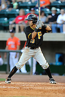Center fielder Eduardo Figueroa (13) of the Bristol Pirates bats in a game against the Greeneville Astros on Friday, July 25, 2014, at Pioneer Park in Greeneville, Tennessee. Greeneville won, 9-4. (Tom Priddy/Four Seam Images)