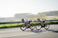 Peter SAGAN (SVN/BORA-Hansgrohe) & Matteo TRENTIN (ITA/Mitchelton-Scott) speeding down<br /> <br /> 62nd E3 BinckBank Classic (Harelbeke) 2019 <br /> One day race (1.UWT) from Harelbeke to Harelbeke (204km)<br /> <br /> ©kramon