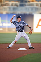 Tampa Yankees second baseman Nick Solak (39) throws to first base during the second game of a doubleheader against the Bradenton Marauders on April 13, 2017 at George M. Steinbrenner Field in Tampa, Florida.  Tampa defeated Bradenton 2-1.  (Mike Janes/Four Seam Images)