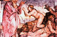 "Vatican:  Sistine Chapel--Vault fresco,  ""Creation of Eve"" by Michelangelo, 1508-1512."