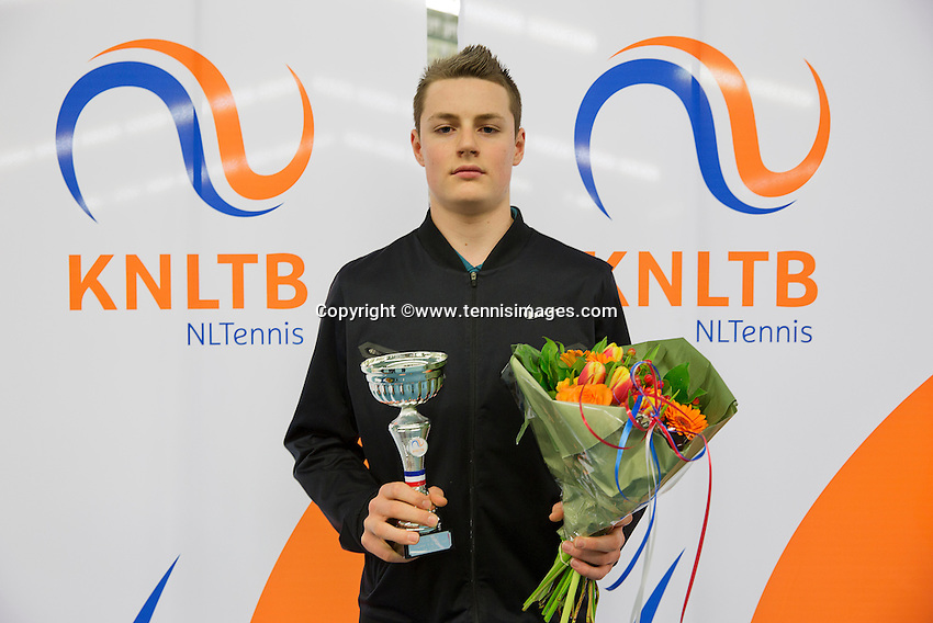 March 15, 2015, Netherlands, Rotterdam, TC Victoria, NOJK,  boys14 years  runner up Deney Wasserman<br /> Photo: Tennisimages/Henk Koster