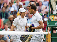 London, England, 6 th July, 2016, Tennis,  Wimbledon, Men's quarterfinal  Andy Murray (GBR)  (L) passing  Jo-Wilfried Tsonga (FRA) during changeover<br /> Photo: Henk Koster/tennisimages.com