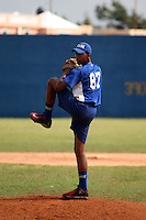 Michell Miliano participates in a workout for players eligible to be signed during the 2016  international signing period at a remote field in the Dominican Republic on February 9, 2016 (Bill Mitchell)
