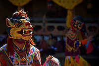 Talo Tshechu Festival, Bhutan, sacred Mask dance with drums and sticks.