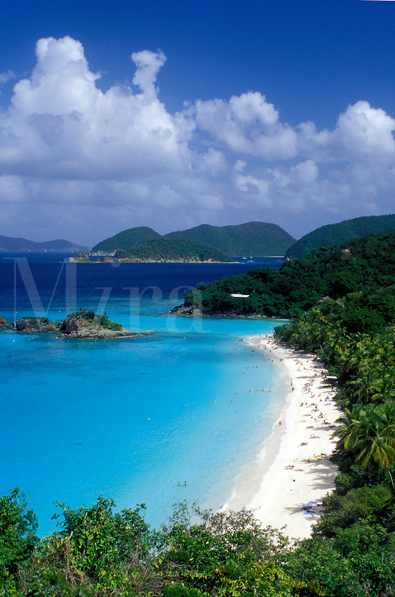 beach, Virgin Islands National Park, St. John, U.S. Virgin Islands, Caribbean, USVI, Scenic view of Trunk Bay Beach in Virgin Islands Nat'l Park on Saint John Island.