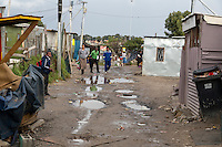 South Africa, Cape Town, Street through Low-income Area of Guguletu Township.
