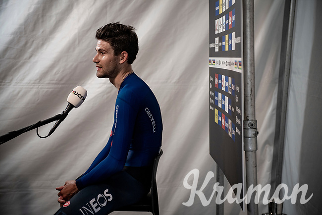 post-race iflash nterview for Filippo Ganna (ITA/Ineos Grenadiers) after succesfully defending his TT title<br /> <br /> Men Elite Individual Time Trial <br /> from Knokke-Heist to Bruges (43.3 km)<br /> <br /> UCI Road World Championships - Flanders Belgium 2021<br /> <br /> ©kramon