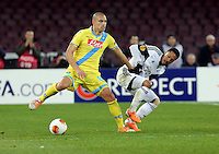 Thursday 27 February 2014<br /> Pictured L-R: Gokhan Inler of Napoli against Jonathan de Guzman of Swansea <br /> Re: UEFA Europa League, SSC Napoli v Swansea City FC at Stadio San Paolo, Naples, Italy.