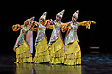 Astana Ballet Theatre presents a mixed bill of four one-act pieces, in their UK debut, in the Linbury Theatre, Royal Opera House. The piece shown is THE HERITAGE OF THE GREAT STEPPE, choreographed by Aigul Tati, Mukaram Avakhri, and A Tsoy. Performed by ballet dancers of Astana Ballet Theatre.  Photograph © Jane Hobson.