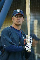 Mark Kotsay of the San Diego Padres during a 2003 season MLB game at Dodger Stadium in Los Angeles, California. (Larry Goren/Four Seam Images)