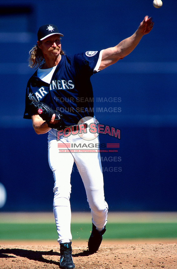 Randy Johnson of the Seattle Mariners participates in a Major League Baseball Spring Training game during the 1998 season in Phoenix, Arizona. (Larry Goren/Four Seam Images)