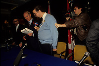 Montreal (qc) CANADA - 1990 file photo - Les bleus Poudres aka Sans limite (100 limites) interview Pierre Trudeau