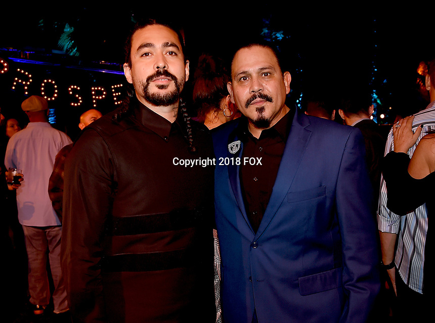 """HOLLYWOOD - AUGUST 28: (L-R) Gino Vento and Emilio Rivera attend the party following the premiere event for FX's """"Mayans MC"""" at the Hollywood Roosevelt Hotel on August 28, 2018 in Hollywood, California. (Photo by Frank Micelotta/FX/PictureGroup)"""