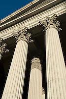 AVAILABLE FROM JEFF AS A FINE ART PRINT.<br /> <br /> AVAILABLE FOR LICENSING FROM GETTY IMAGES.  Please go to www.gettyimages.com and search for image # 114512871.<br /> <br /> Upward View of Courthouse Columns, Foley Square, Lower Manhattan, New York City, New York State, USA