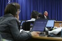 Journalists listen as commissioner Michel Bastarache unveils the report of his inquiry in the appointment of judges, commonly know as the Commission Bastarache, Wednesday January 19, 2011.<br /> <br /> PHOTO :  Francis Vachon - Agence Quebec Presse