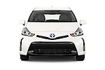 Car photography straight front view of a 2015 Toyota Prius v Four 4 Door Hatchback Front View