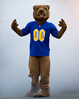 The Pitt Panther mascot gets ready to lead the team onto the field. The Pitt Panthers defeated the UCF Knights 35-34 in a football game played at Heinz Field, Pittsburgh, Pennsylvania on September 21, 2019.
