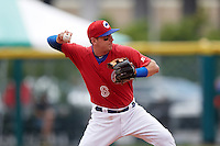 Buffalo Bisons shortstop Andy Burns (8) throws to first during a game against the Syracuse Chiefs on July 31, 2016 at Coca-Cola Field in Buffalo, New York.  Buffalo defeated Syracuse 6-5.  (Mike Janes/Four Seam Images)