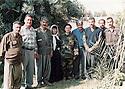 Iraq 2003.10th april 2003, the following day of the liberation of Khanakin by PUK peshmergas, 3rd from left, Mala Baktyar, 4th the mother of Lamia Mohamed, 5th Lamia Mohamed, a woman peshmerga.Irak 2003.10 avril 2003 au lendemain de la liberation de Khanakin par les peshmergas de l'UPK, 3eme a gauche, Mala Baktiar, 4eme la mere de Lamia Mohamed, 5eme Lama Mohamed, une femme peshmerga
