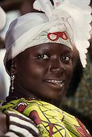 Baleyara, Niger, West Africa.  Nigerien Woman with Headscarf.