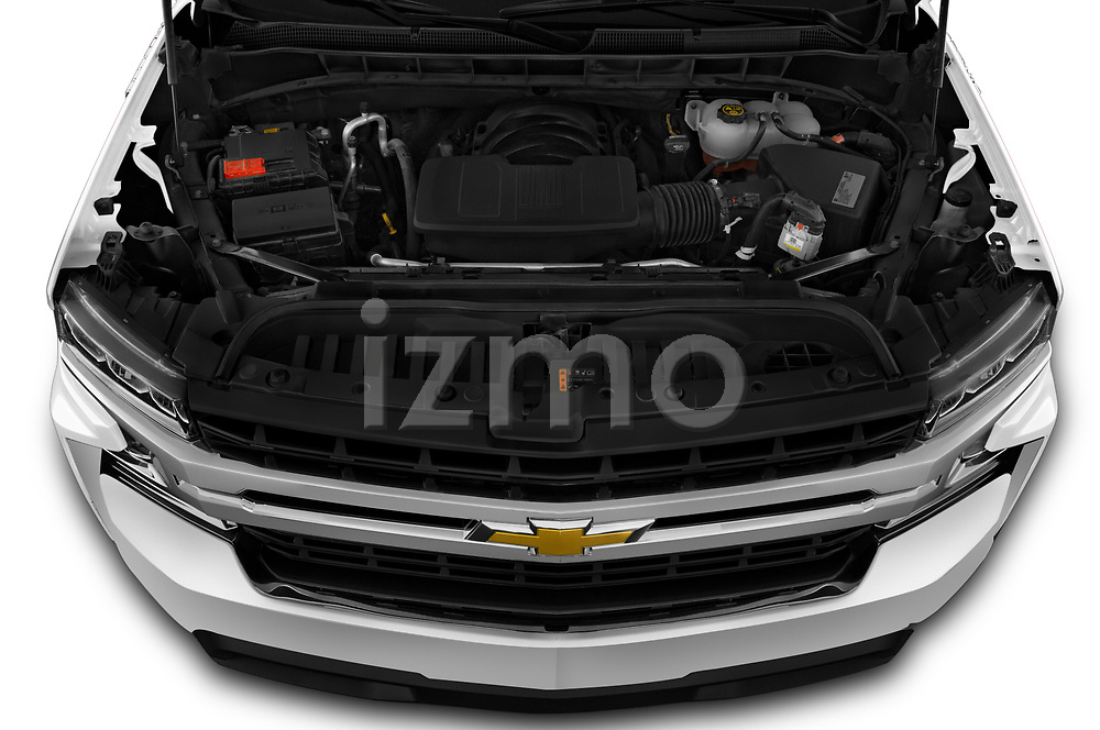 Car Stock 2020 Chevrolet Silverado-1500 LT 4 Door Pick-up Engine  high angle detail view