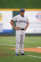Pulaski Yankees manager Nick Ortiz (12) during a game against the Greeneville Reds on July 27, 2018 at Pioneer Park in Tusculum, Tennessee.  Greeneville defeated Pulaski 3-2.  (Mike Janes/Four Seam Images)