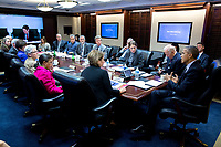 President Barack Obama convenes a meeting on the Zika virus, in the Situation Room of the White House, Jan. 26, 2016. (Official White House Photo by Pete Souza)<br /> <br /> This official White House photograph is being made available only for publication by news organizations and/or for personal use printing by the subject(s) of the photograph. The photograph may not be manipulated in any way and may not be used in commercial or political materials, advertisements, emails, products, promotions that in any way suggests approval or endorsement of the President, the First Family, or the White House.