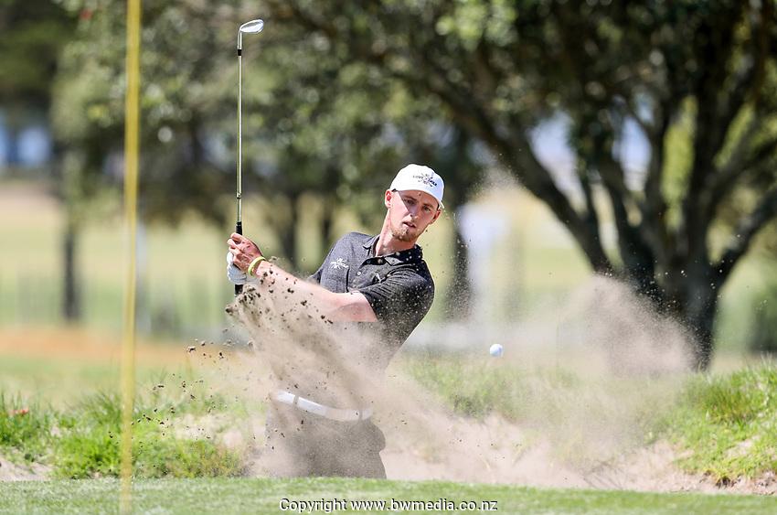Sam Jones during his round 1 match v Kerry Mountcastle during the New Zealand Amateur Golf Championship, Poverty Bay Golf Course, Awapuni Links, Gisborne, Friday 23 October 2020. Photo: Simon Watts/www.bwmedia.co.nz