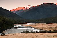 Makarora river and last light on Mt. Brewster 2515m, Mt. Aspiring NP, Central Otago, New Zealand