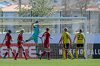 20200307  Lagos , Portugal : Ball goes over during the female football game between the national teams of Sweden and Denmark on the second matchday of the Algarve Cup 2020 , a prestigious friendly womensoccer tournament in Portugal , on saturday 7 th March 2020 in Lagos , Portugal . PHOTO SPORTPIX.BE | STIJN AUDOOREN