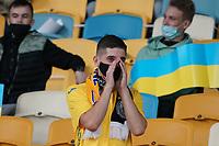 Ukrainische Fans auf ihren Sitzen, 21.000 Fans sind zum Spiel zugelassen<br /> - 10.10.2020: Ukraine vs. Deutschland, UEFA Nations League, 3. Spieltag, Olympiastadion Kiew <br /> DISCLAIMER: DFB regulations prohibit any use of photographs as image sequences and/or quasi-video.