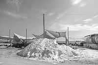 Mound of white salt, this salt was extracted from the sea in the Kino Viejo bay in Sonora Mexico. Sea salt extraction, salt mining, extract salts from sea water. (Photo: Luis Gutierrez / NortePhoto.com)<br /> <br /> Montículo de sal blanca, esta sal fue extraída del mar en la bahía de Kino Viejo en Sonora México. Extracción de sal marina, minería de sal, extraer sales del agua de mar. (Foto: Luis Gutierrez / NortePhoto.com)