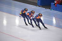 SPEEDSKATING: 23-11-2019 Tomaszów Mazowiecki (POL), ISU World Cup Arena Lodowa, Team Pursuit Ladies (NED), Antoinette de Jong, Ireen Wüst, Melissa Wijfje, ©photo Martin de Jong