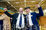 Danny and Michael Healy-Rae pictured at the count centre in Killarney on Sunday last.