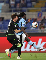 Football, Serie A: S.S. Lazio - Cagliari, Olympic stadium, Rome, July 23, 2020. <br /> Lazio's Jordan Lukaku (r) in action with Cagliari's goalkeeper Alessio Cragno (l) during the Italian Serie A football match between Lazio and Cagliari at Rome's Olympic stadium, Rome, on July 23, 2020. <br /> UPDATE IMAGES PRESS/Isabella Bonotto