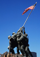 The landmark Marine Corps War Memorial sculpture depicts soldiers raising the flag at Iwo Jima. Arlington National Cemetery, Virginia, metro Washington, DC.