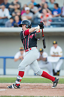 Max Casper (1) of the New Jersey Jackals follows through on his swing against the Sussex County Miners at Skylands Stadium on July 29, 2017 in Augusta, New Jersey.  The Miners defeated the Jackals 7-0.  (Brian Westerholt/Four Seam Images)