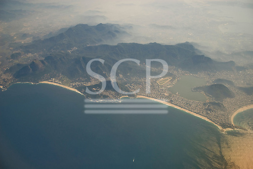 Rio de Janeiro, Brazil. Aerial view of Copacabana, Ipanema, Leblon and Sao Conrado beaches, the Lagoa Rodrigo de Freitas lagoon and the hills behind.
