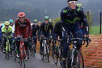 Alejandro Valverde (ESP/Movistar) paced by teammates up La Redoute (1650m/9.7%)<br /> <br /> 102nd Liège-Bastogne-Liège 2016