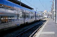 Train arriving at the platform of Saint Charles Railway Station, Marseille, France.