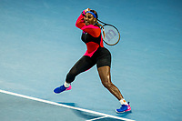 16th February 2021, Melbourne, Victoria, Australia; Serena Williams of the United States of America returns the ball during the quarterfinals of the 2021 Australian Open on February 16 2021, at Melbourne Park in Melbourne, Australia.