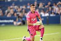 KANSAS CITY, KS - JUNE 26: Tomas Romero #30 Los Angeles FC watches a shot go wide during a game between Los Angeles FC and Sporting Kansas City at Children's Mercy Park on June 26, 2021 in Kansas City, Kansas.