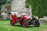 BNPS.co.uk (01202 558833)<br /> Pic: MaxWillcock/BNPS<br /> <br /> Pictured: Mr Toad's car in the grounds of the National Motor Museum.<br /> <br /> Mr Toad's car from Wind in the Willows has gone on display after a painstaking restoration following years of neglect.<br /> <br /> The vehicle was made for the 1996 film adaptation of Kenneth Grahame's classic 1908 children's book starring Terry Jones as the obsessive amphibian.<br /> <br /> The car, which appears to be from the Edwardian era, was actually built in 1995 at Shepperton Studios for the film.<br /> <br /> Following the film's release, it was transported to America, where it spent many years hanging from the ceiling of a Florida restaurant.<br /> <br /> It was brought back to Britain last year in a dilapidated state and has been restored at the National Motor Museum workshop in Beaulieu, Hants, where visitors can see it driven around the grounds.