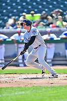 Jackson Generals first baseman Marty Herum (27) swings at a pitch during a game against the Tennessee Smokies at Smokies Stadium on April 11, 2018 in Kodak, Tennessee. The Generals defeated the Smokies 6-4. (Tony Farlow/Four Seam Images)