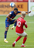 Blackpool's Demi Mitchell clears under pressure from Crewe Alexandra's Charlie Kirk<br /> <br /> Photographer Rich Linley/CameraSport<br /> <br /> The EFL Sky Bet League One - Crewe Alexandra v Blackpool - Saturday 17th October 2020 - Gresty Road - Crewe<br /> <br /> World Copyright © 2020 CameraSport. All rights reserved. 43 Linden Ave. Countesthorpe. Leicester. England. LE8 5PG - Tel: +44 (0) 116 277 4147 - admin@camerasport.com - www.camerasport.com