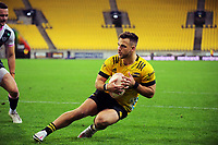 Wes Goosen scores during the Super Rugby Tran-Tasman match between the Hurricanes and Rebels at Sky Stadium in Wellington, New Zealand on Friday, 21 May 2020. Photo: Dave Lintott / lintottphoto.co.nz