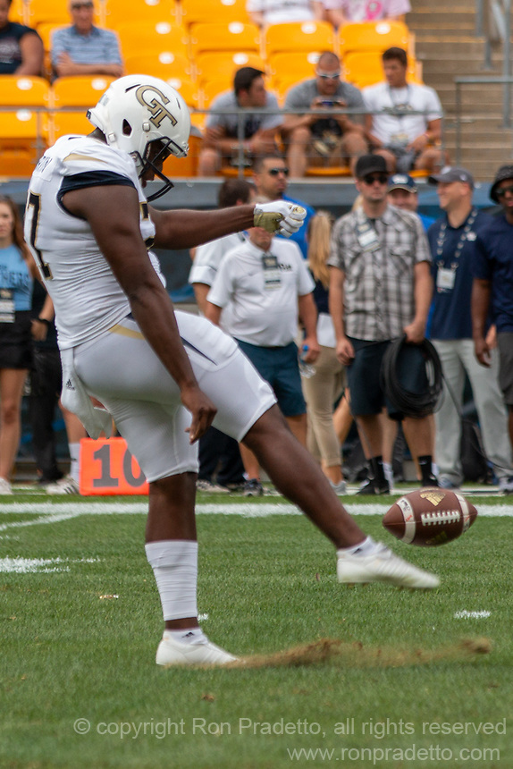 Georgia Tech punter Pressley Harvin III. The Pitt Panthers football team defeated the Georgia Tech Yellow Jackets 24-19 on September 15, 2018 at Heinz Field in Pittsburgh, Pennsylvania.